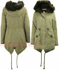 T85 NEW WOMENS FAUX FUR HOODED PARKA MILITARY LADIES JACKET TRENCH COAT FISHTAIL