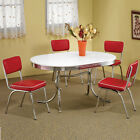 Retro 1950's Oval Table Red Black Cushion Chair 5 PC Chrome Kitchen Dining Set