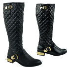 WOMENS LADIES FLAT LOW GOLD HEEL RIDING QUILTED ZIP KNEE HIGH BOOTS SHOES SIZE