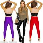 Womens Ladies American High Waisted Disco Trousers Leggings Pants Size 6 8 10 12