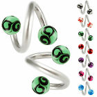 Twist belly button ring piercing steel spiral jewelry bar body barbell 2pcs 9DBY