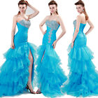 New Lady Organza Long Evening Bridesmaid dress Prom Formal Party Dress Ball Gown