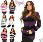 Ladies Striped Sweater Long Sleeve Stretch Knit Top Hooded Jumper w/ Pockets 449
