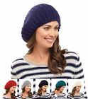 NEW LADIES SLOUCH KNITTED BERET SOFT BEANIE HAT FASHION WINTER SKIING CHRISTMAS