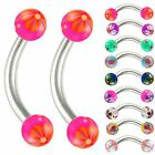 16 gauge curved barbell steel eyebrow ring tragus lip piercing jewelry 2pcs 9EEN