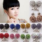 2pc Austrian Crystal Rhinestone Pave Disco Ball Beads Earrings Stud Studs Charms