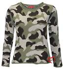 Women Ladies Knitted Crew Neck Camouflage Print Army Military Jumper