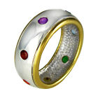 Sterling Silver Gold Vermeil Seven Chakra Stones Ring Hindi Yoga  Pride Jewelry