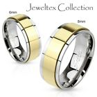 Stainless Steel 2Tone 6MM Wedding Ring Band Gold IP Electroplated Spinner HJ659