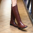 Womens Leather Buckle Strap Pull On Block Heels Knee High Riding Boots Plus Size