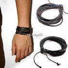 Men's Women's Braided Leather and Hemp Surfer Wristband Bracelet Black Brown