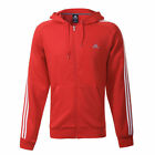 New adidas essential Hooded Zip Track Top 3 Stripe Hoodie Jacket Red M to 5XL