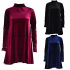 Ladies Women Velour Long Sleeve Turtle Neck Polo Neck Velvet Swing Skater Dress