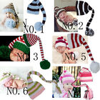 Cute Newborn Baby Infant Crochet Knit Christmas Long-tailed Beanie Pixie Elf Hat
