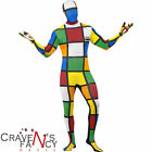 80's Rubik's Cube Second Skin Mens Stag Party Fancy Dress Costume New