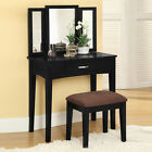 Contemporary 3 PC Tri-Folding Mirror 1 Drawer Table Upholstered Stool Vanity Set