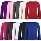 KIDS LONG SLEEVE PLAIN BASIC TOP GIRLS BOYS T-SHIRT TOPS CREW UNIFORM TEE 1-13Y