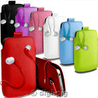 COLOUR (PU) LEATHER PULL TAB POUCH CASE & EARBUD FOR SONY XPERIA MOBILE PHONES