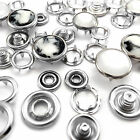 Metal Press Studs Poppers Free Nickel, Choice of cap types sizes and colors