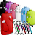 COLOUR (PU) LEATHER PULL TAB POUCH, EARBUD & STYLUS PEN FOR LG OPTIMUS MOBILES