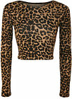 New Womens TRIBAL/ANIMAL LEOPARD PRINT LONG SLEEVE CROP TOP 8-14