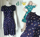 VINTAGE retro NAVY BLUE BIRD NOVELTY PRINT 1940'S TEA DRESS quirky XS S M L