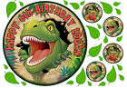 EDIBLE ICING DINOSAURS DINO JUNGLE HAPPY BIRTHDAY NAME AGE CAKE CUPCAKE TOPPERS