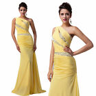 One Shoulder Yellow Evening Formal Party Ball Gown Prom Bridesmaid Long Dress H2