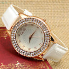 Crystal Rhinestone Leather Band Charm Quartz Wrist Watch Women Lady Xmas Gift