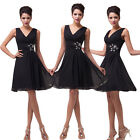 Lady Women's Knee-length Ruffles Chiffon Bridesmaid Party Cocktail Evening Dress