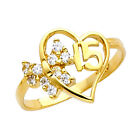 14K Dainty Gold Sweet Quincea  era 15 A  os Ring with 10 Clear Cubic Zirconia