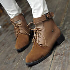 Womens Retro Buckle Faux Leather Lace Up Flat Spring Autumn Ankle Boots Shoes