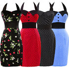 Short Mini NEW Vintage 50s Style Pencil Fitted Bodycon Cotton Dress Halter Dress