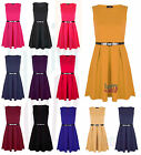 New Womens Sleeveless Skater Dress Flared Frankie Belted Pleated Short Party Top