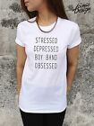 *STRESSED DEPRESSED BOY BAND OBSESSED Funny T-shirt Top One Direction 1D Tumblr*