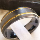 8MM CERAMIC  MEN'S BLACK WITH GOLD PLATED LINES WEDDING BAND RING SZ 5-15