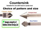 Woodworking Countersink for Wood Screws - Rose  V or Stubby Pattern available