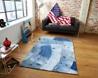 New Funky Large Stylish Affordable Retro Patterned Blue Recycled Denim Jeans Rug
