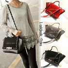 Women Faux Leather Studs Foldover Flap Lock Closure Top Handle Crossbody Bag