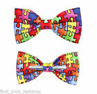Colorful Puzzle Pieces Autism Awareness Clip On Bow Tie