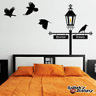 Gas Lamp Street Sign Post with Crows Vinyl Decal - fits c...
