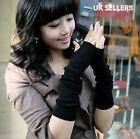 Womens New Black Stretchy Arm Warmers Long Fingerless Gloves Fashion Mittens