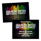 Personalised birthday party invitations EQUALIZER MUSIC RAINBOW FREE ENVELOPES &