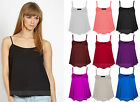 Ladies Sleeveless Swing Vest Top Strappy Plain Cami Womens Size UK 8 - 26