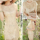 Women Scallop Hem Floral Crochet Lace Cutout Shell Pearls Beads Bodycon Dress