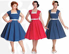 Hell Bunny Judy Blue Red White Polka Dot Party Dress 50s Vintage New Plus Size