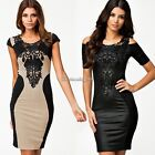 European Fashion Women Bodycon Bandage Dress Casual Dress with Embroidery C1MY