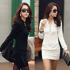 Women Collared Long Sleeve Casual Slim Dress Blouse Top Mini Dress  Long Tee