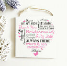 Personalised Thank You Bridesmaid Typography Wooden Plaque Heart Keepsake W87