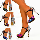 Ladies Colourful Zebra Animal Print Ankle Strap Peep Toe High Heel Sandals Size
